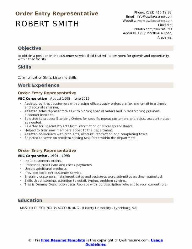 Order Entry Representative Resume example