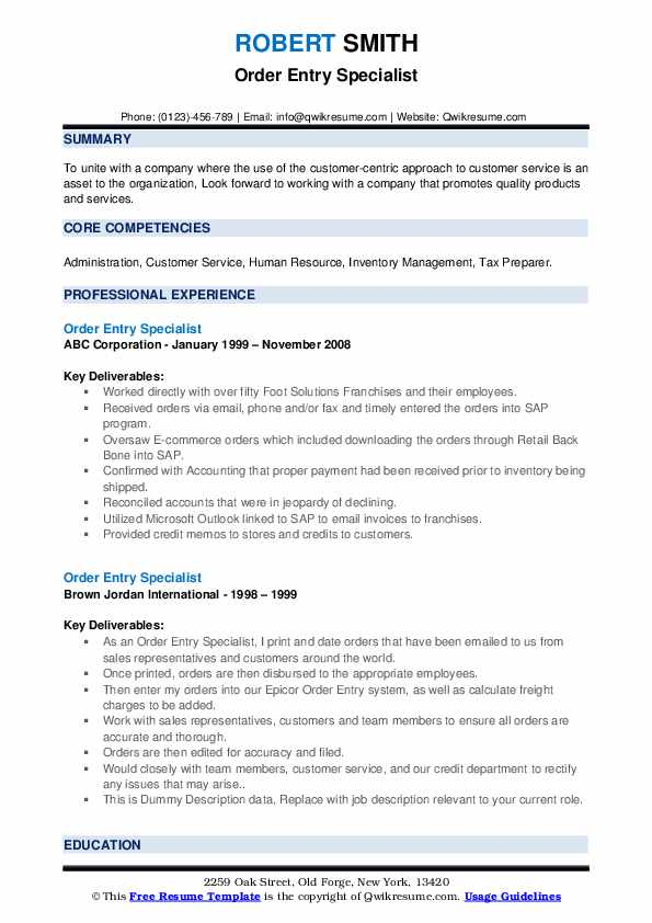 order entry specialist resume samples  qwikresume