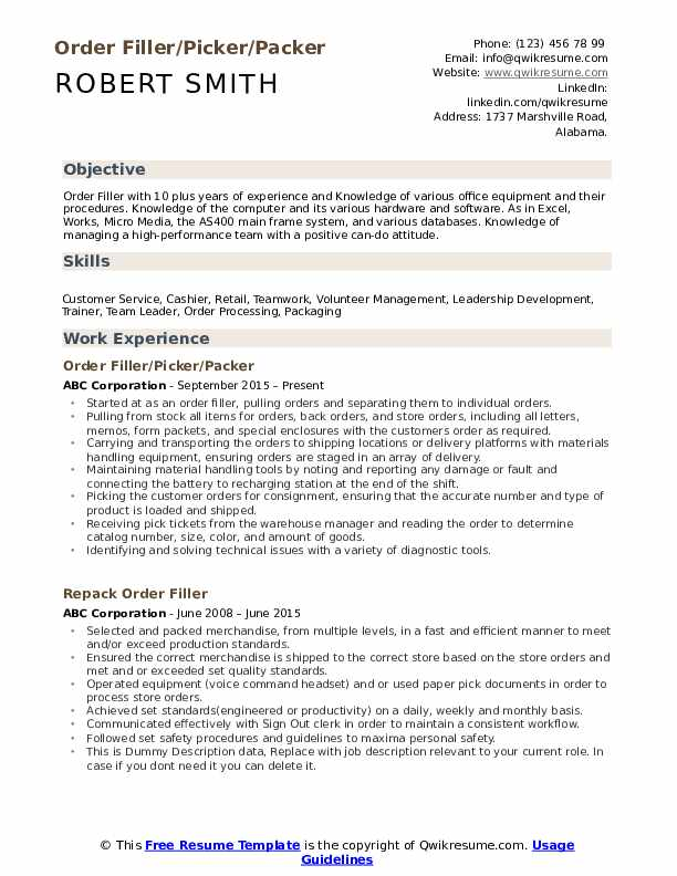 Order Filler/Picker/Packer Resume Format