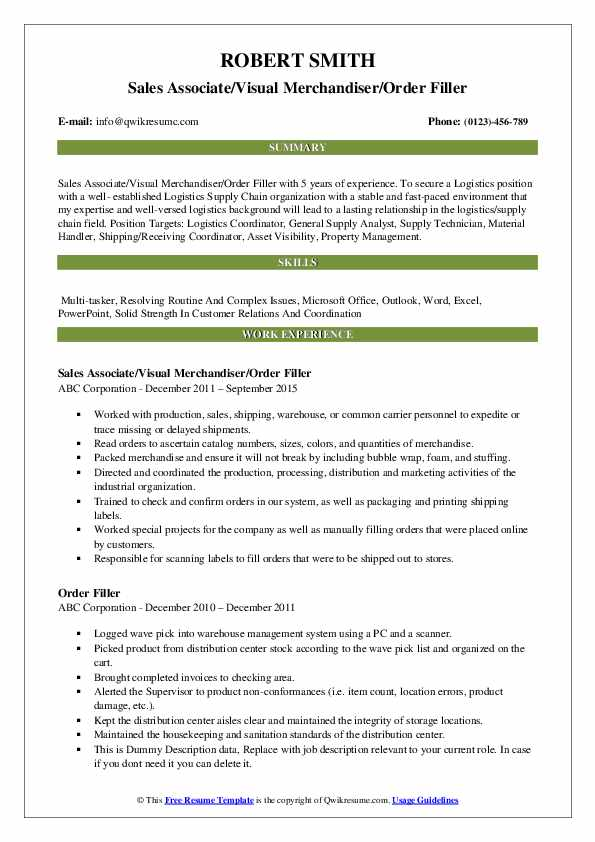 Sales Associate/Visual Merchandiser/Order Filler Resume Example