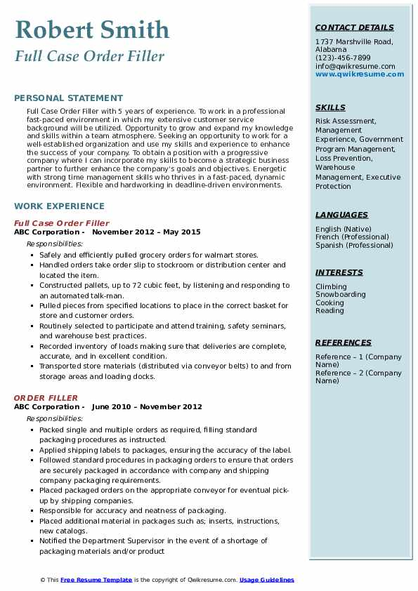 Full Case Order Filler Resume Format