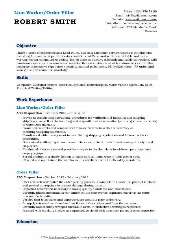 Line Worker/Order Filler Resume Sample
