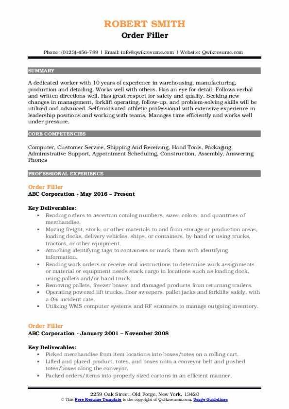 Order Filler Resume Example