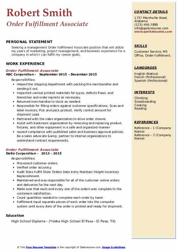 order fulfillment associate resume samples  qwikresume