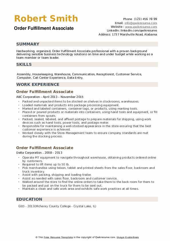 Order Fulfillment Associate Resume example