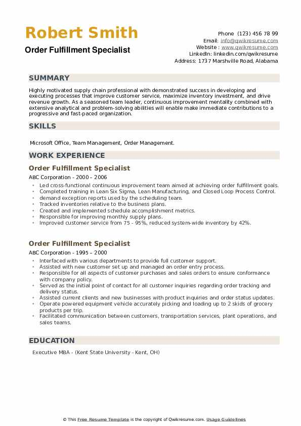 Order Fulfillment Specialist Resume example