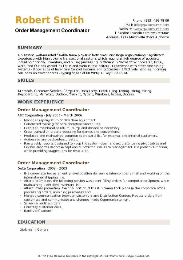 Order Management Coordinator Resume example