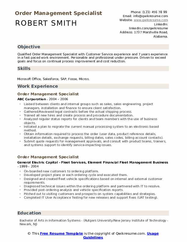 Order Management Specialist Resume Samples Qwikresume