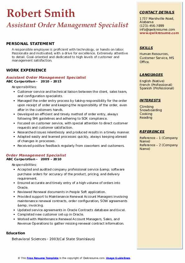 Order Management Specialist Resume Samples Qwikresume