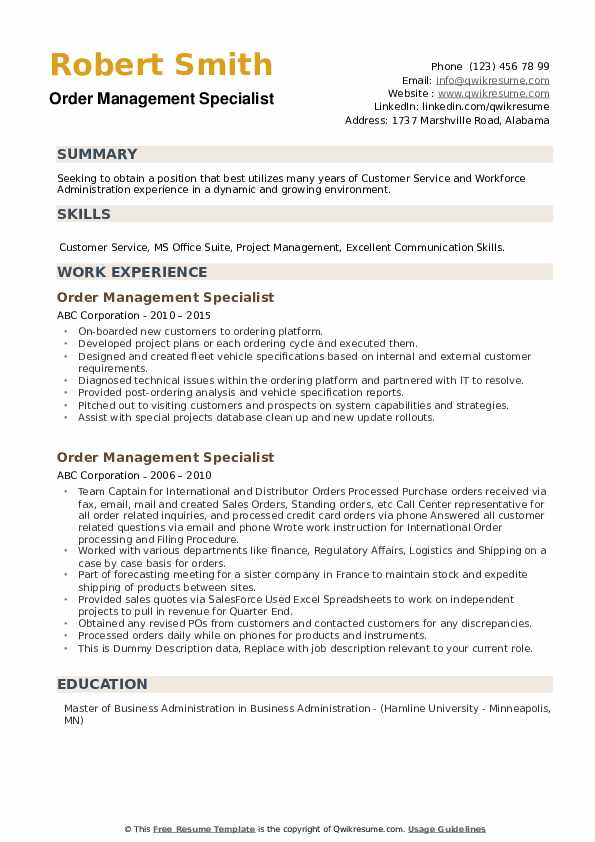 Order Management Specialist Resume example