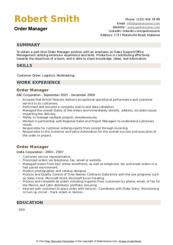 Order Manager Resume example