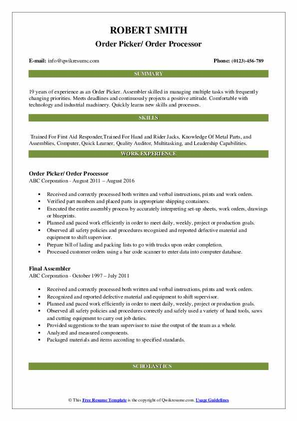 Order Picker/ Order Processor Resume Example