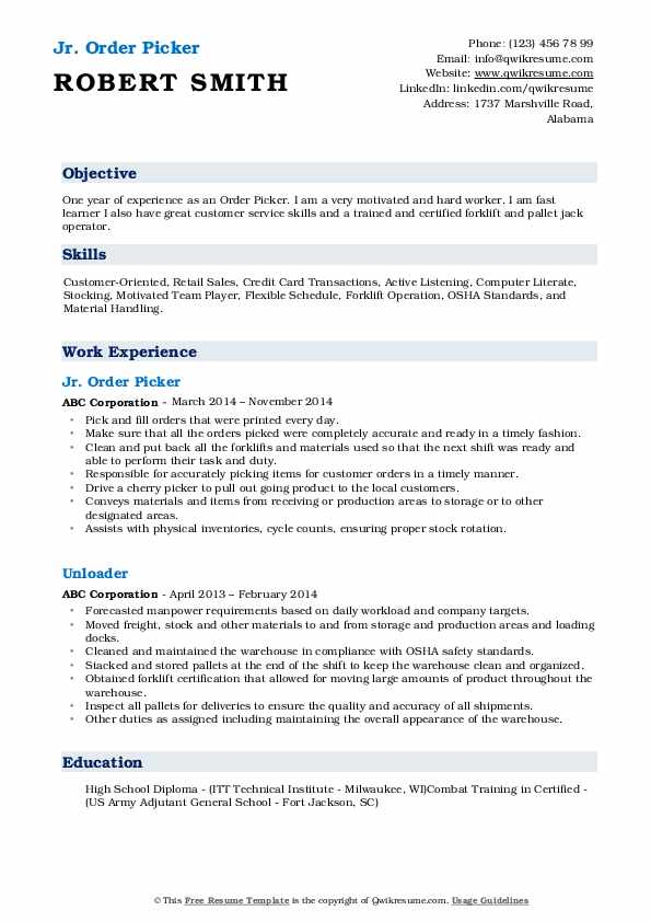 Jr. Order Picker Resume Example