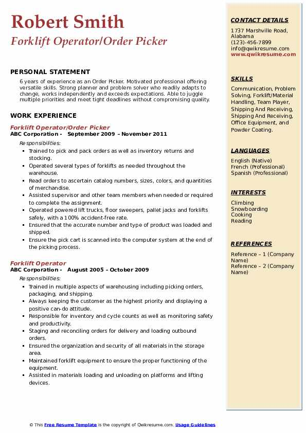 Order Picker Resume Samples Qwikresume
