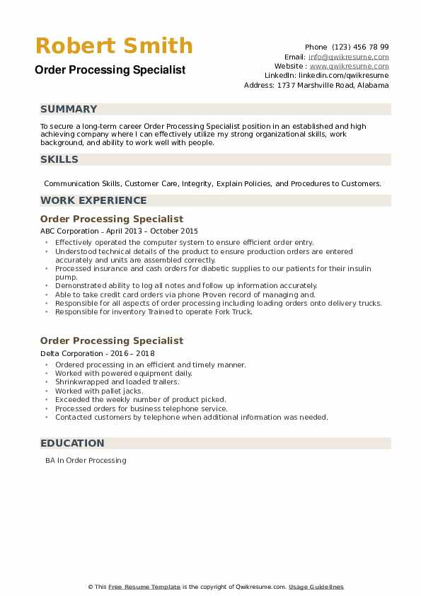 Order Processing Specialist Resume example
