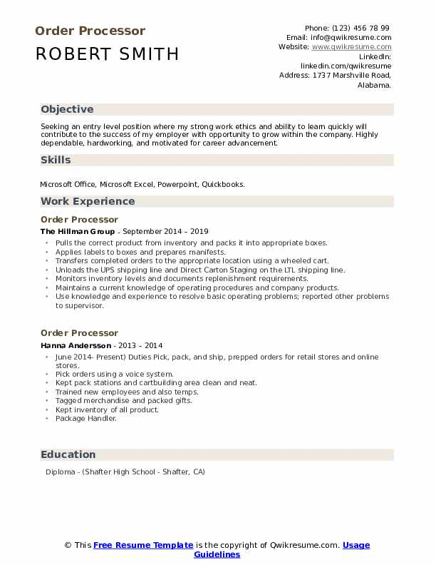 Order Processor Resume Samples Qwikresume