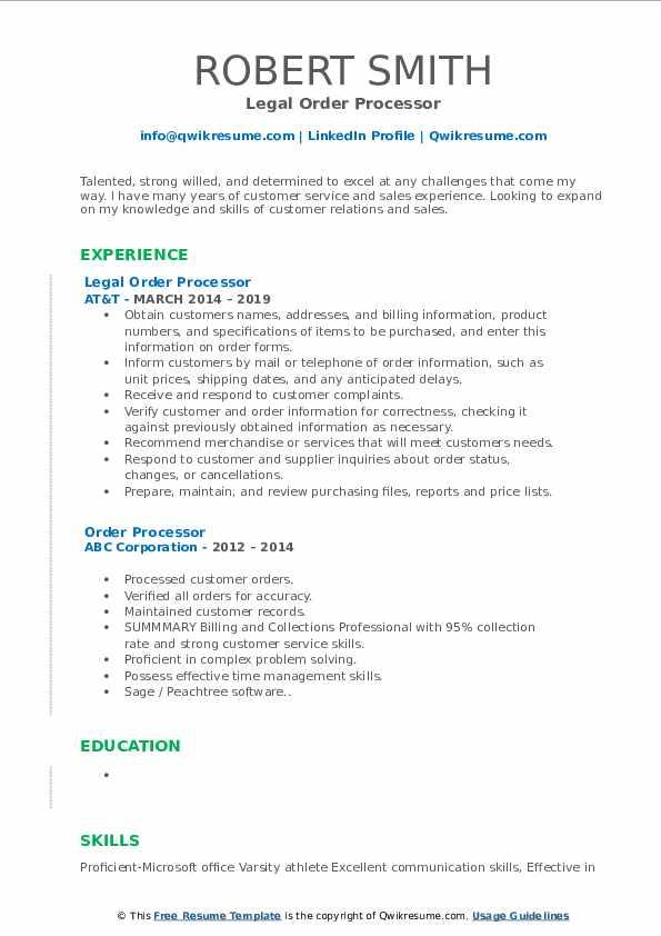 Legal Order Processor Resume Sample