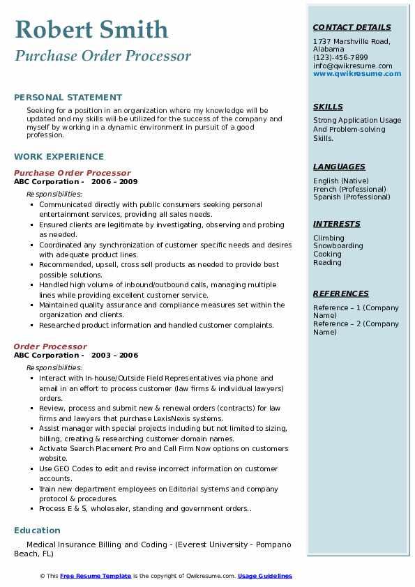 Purchase Order Processor Resume Model