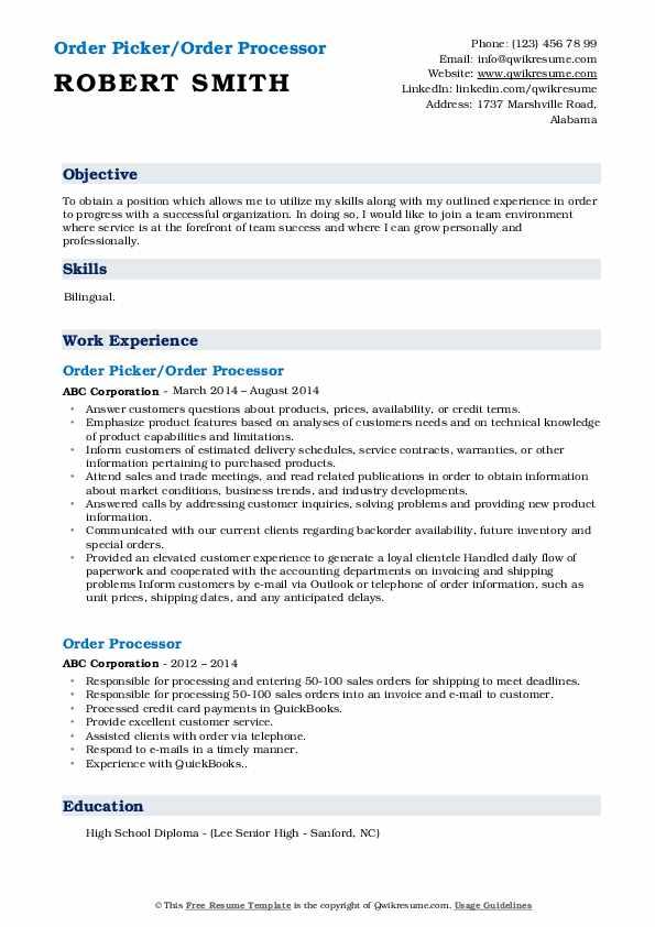 Order Picker/Order Processor Resume Example