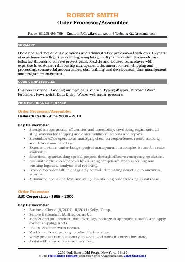 Order Processor/Assembler Resume Format