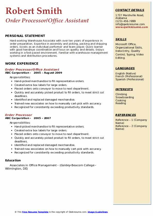 Order Processor/Office Assistant Resume Template