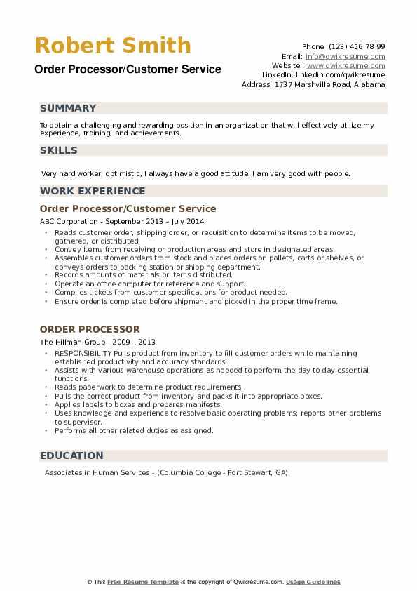 Order Processor/Customer Service Resume Format