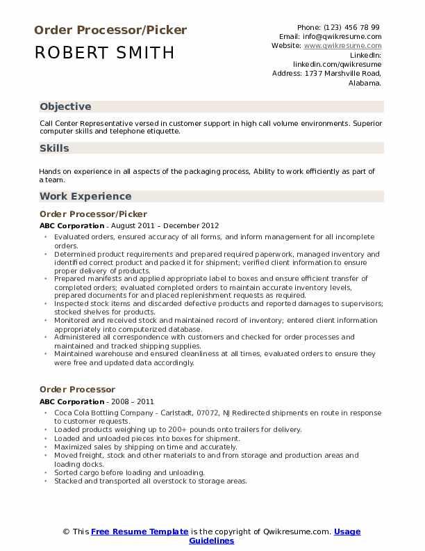 Order Processor/Picker Resume Sample
