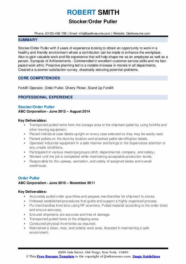 Stocker/Order Puller Resume Example