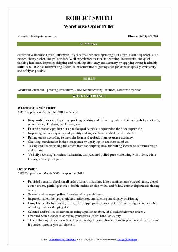 Warehouse Order Puller Resume Format