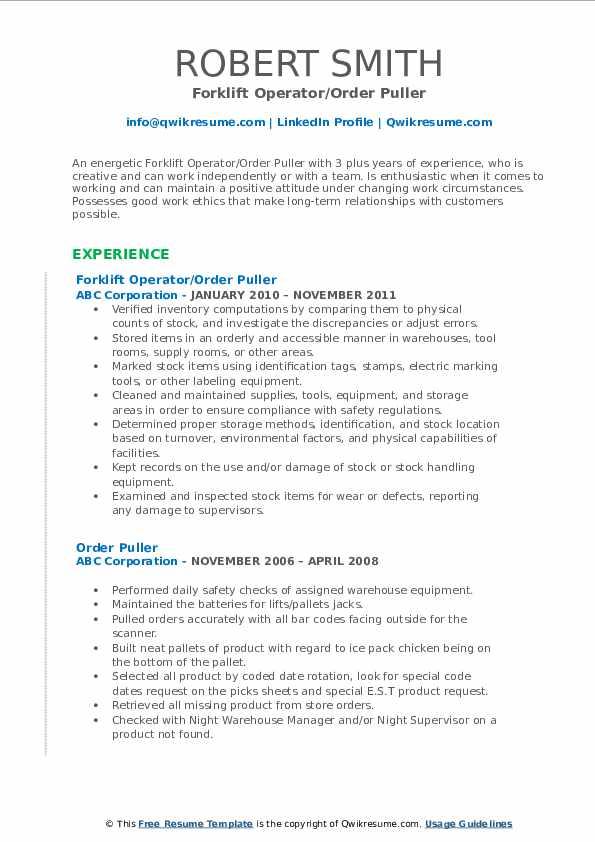 Forklift Operator/Order Puller Resume Format
