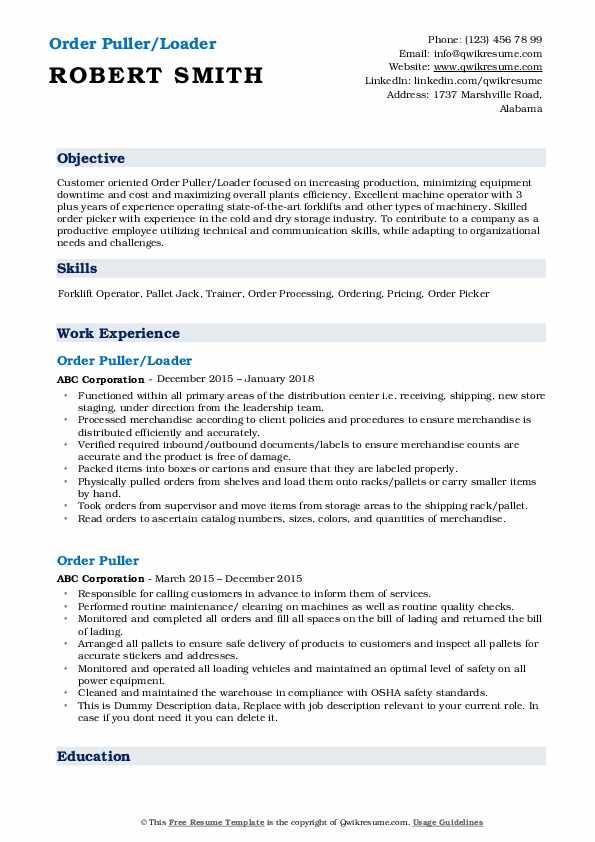 Order Puller/Loader Resume Format