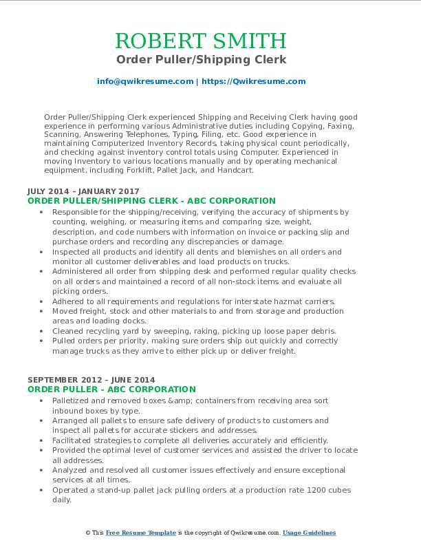 Order Puller/Shipping Clerk Resume Sample