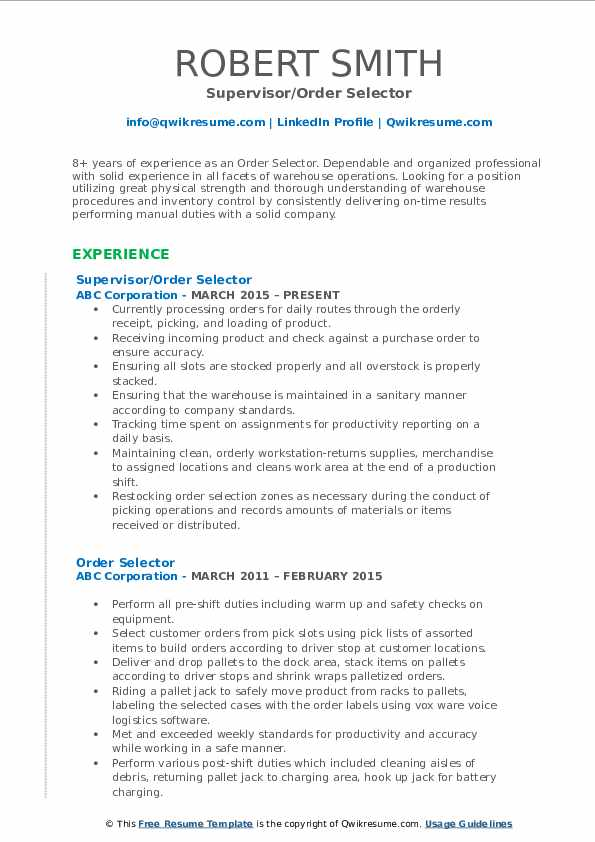 order selector resume samples