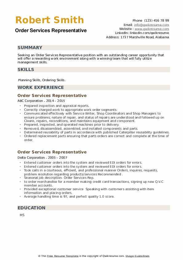 Order Services Representative Resume example