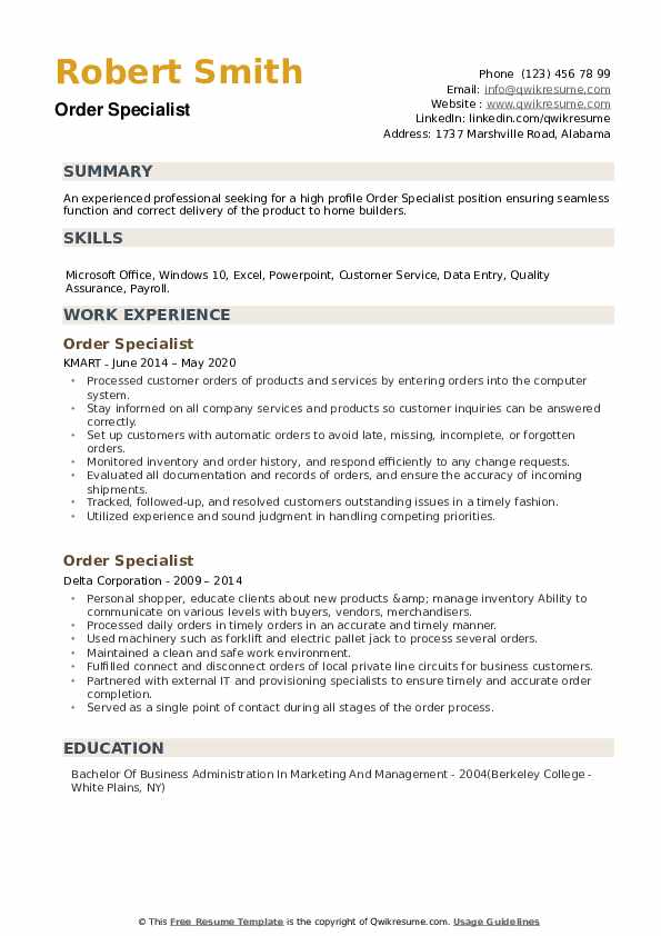 Order Specialist Resume example