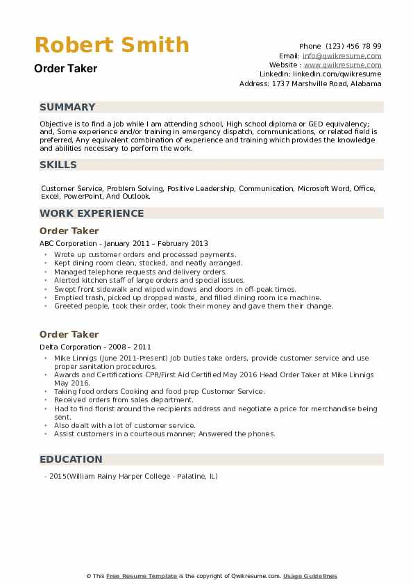 Order Taker Resume example