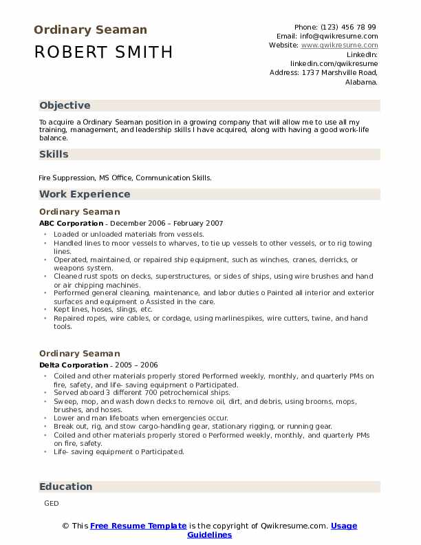 ordinary seaman resume samples  qwikresume
