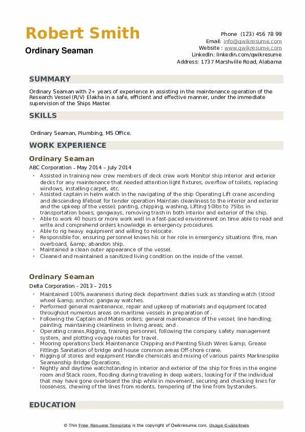 Ordinary Seaman Resume example