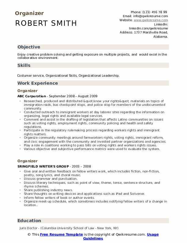 Organizer Resume Template