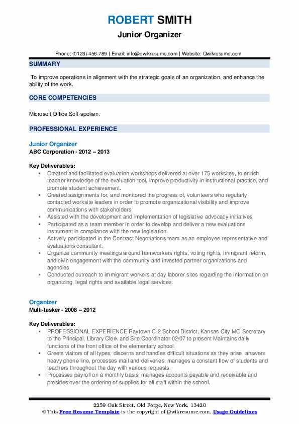 Junior Organizer Resume Format