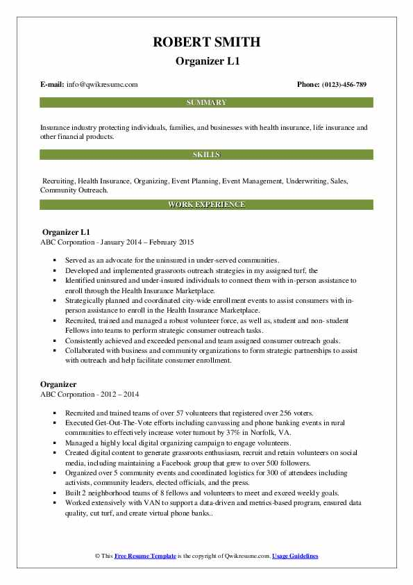 Organizer L1 Resume Sample