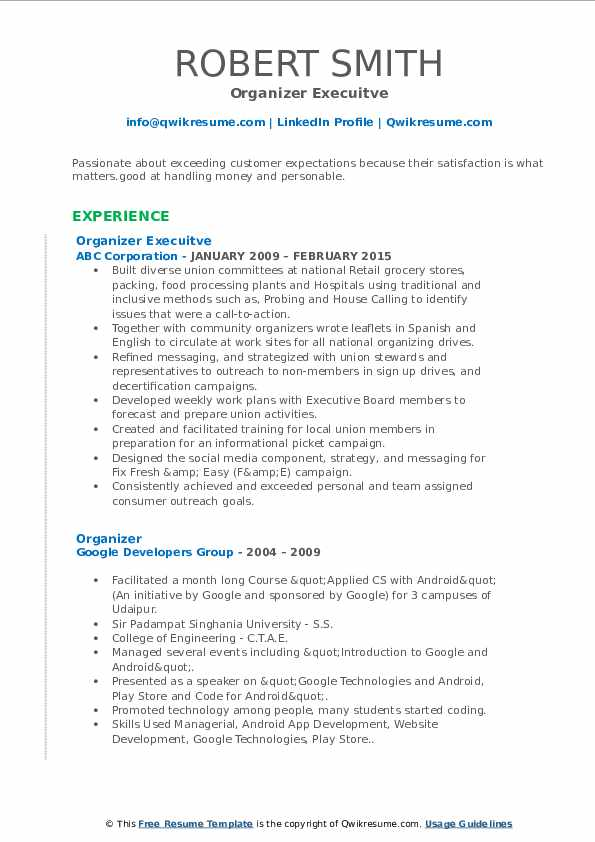 Organizer Execuitve Resume Format
