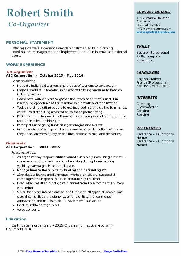 Co-Organizer Resume Model