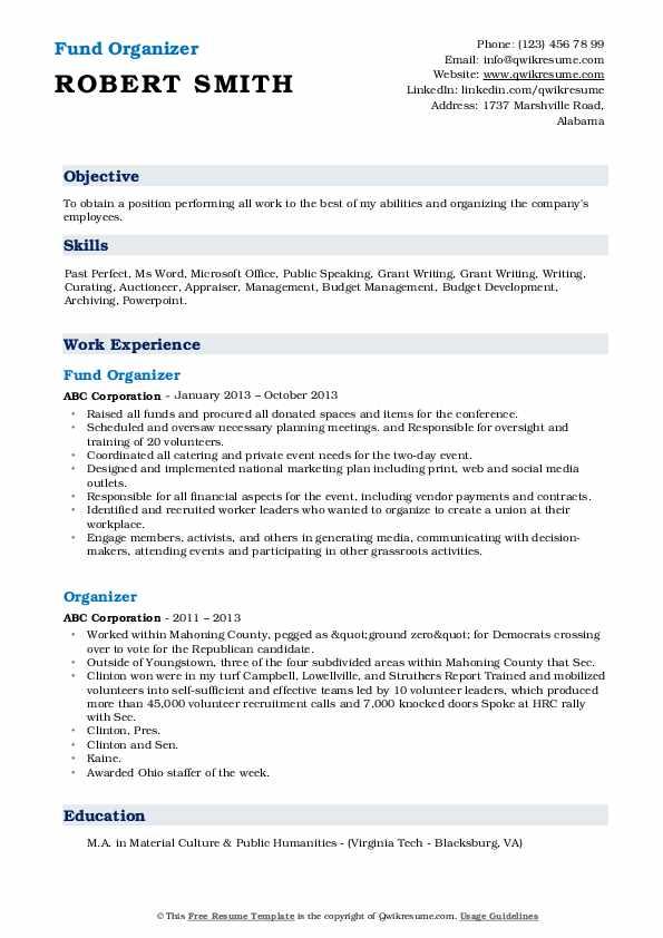 Fund Organizer Resume Format