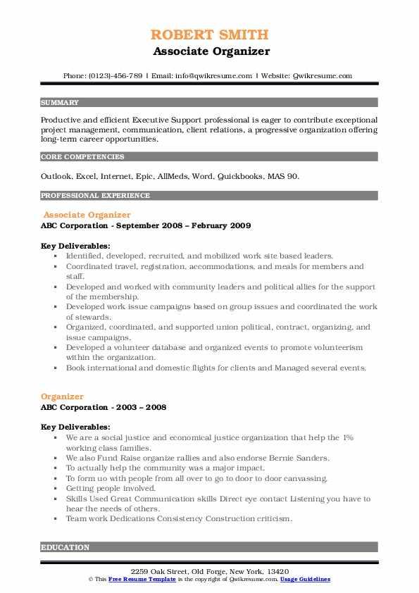 Associate Organizer Resume Example