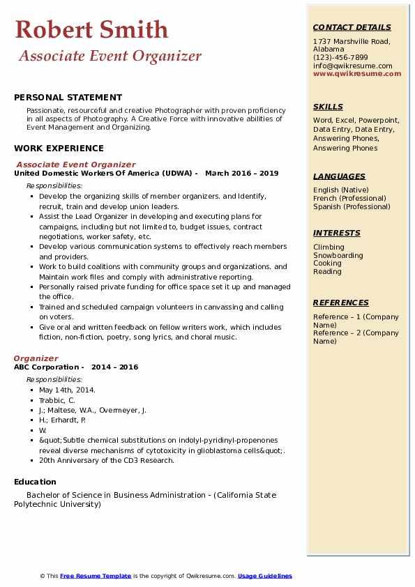Associate Event Organizer Resume Model