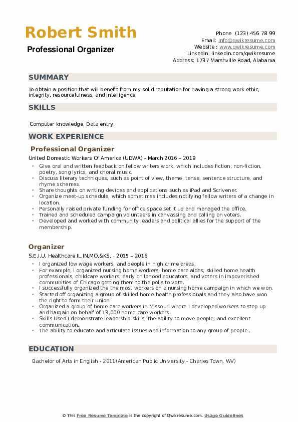 Professional Organizer Resume Model