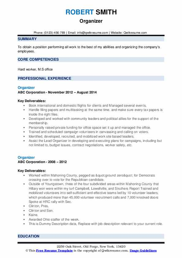 Organizer Resume example