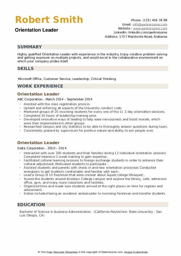 Orientation Leader Resume example