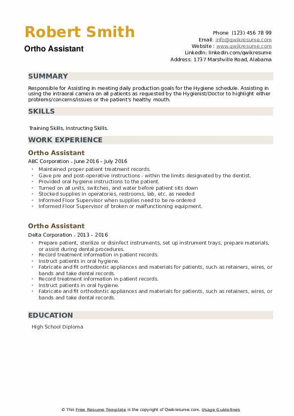 Ortho Assistant Resume example